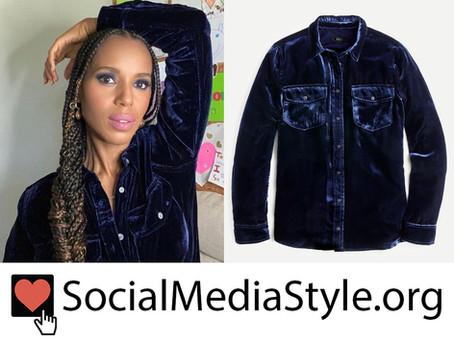 Kerry Washington's navy blue velvet shirt