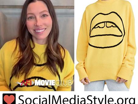 Jessica Biel's yellow lips sweater
