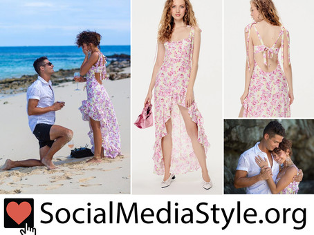 The floral print dress that Sarah Hyland wore when Wells Adams proposed
