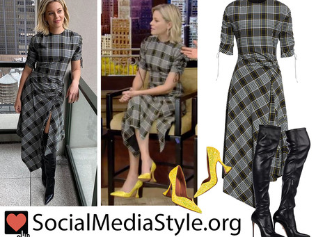 Elizabeth Banks' plaid dress, black over-the-knee boots, and yellow glitter pumps