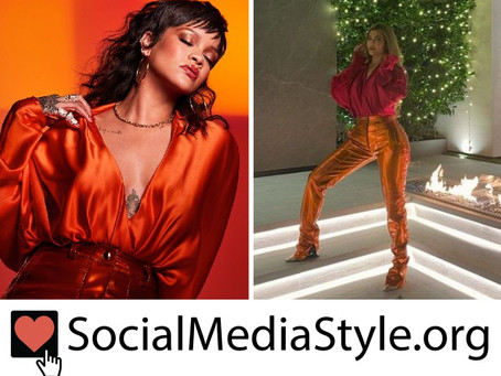 Rihanna and Kylie Jenner's red bodysuit and orange moto pants