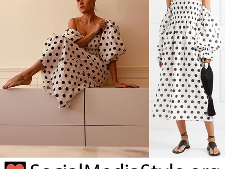 Brie Larson's polka dot balloon sleeve dress