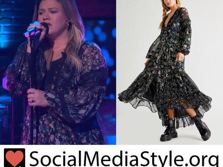 Kelly Clarkson's black floral print dress from The Kelly Clarkson Show