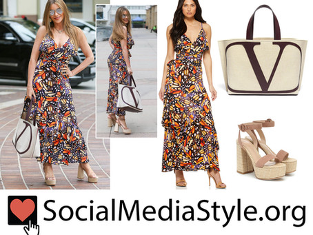 Sofia Vergara's butterfly print dress, tote bag, and raffia platform sandals