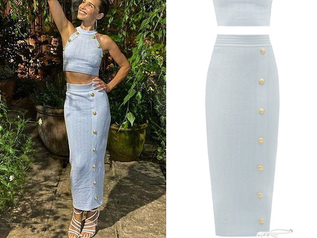 Emilia Clarke's blue button detail crop top and skirt and white sandals from The Tonight Show