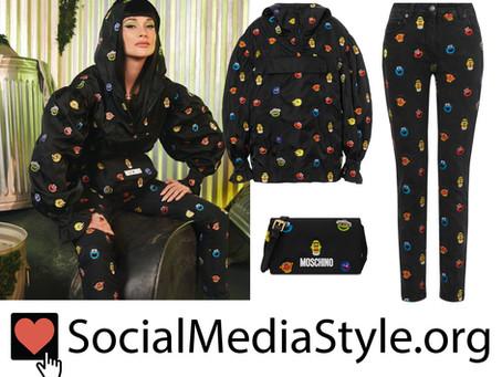 Kacey Musgraves' Moschino Sesame Street windbreaker, black jeans, and shoulder bag