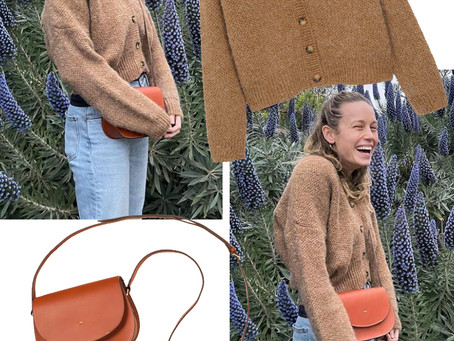 Brie Larson's brown cardigan and shoulder bag