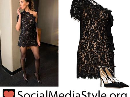 Alison Brie's black lace one shoulder dress and crystal embellished pumps from Jimmy Kimmel Live