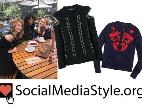 Renata's chain detail sweater and Madeline's embroidered cardigan from Big Little Lies