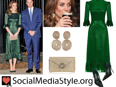Kate Middleton's gold earrings and clutch and green dress and pumps