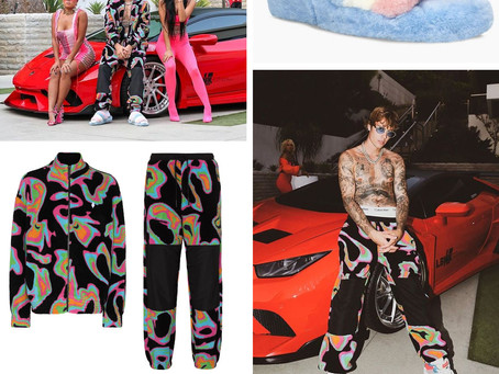 Justin Bieber's psychedelic print outfit and fuzzy slide sandals from the Popstar music video