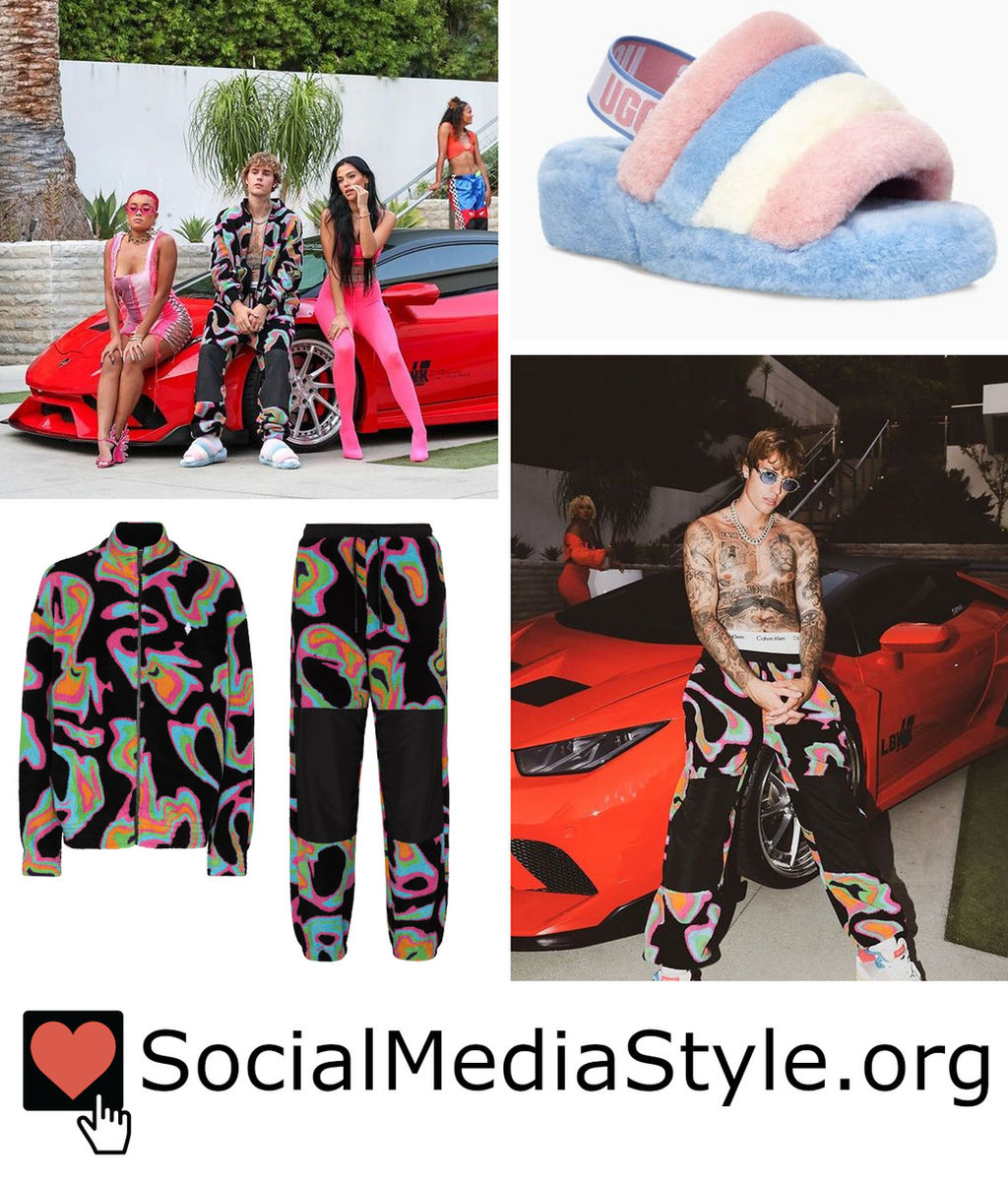 Justin Bieber S Psychedelic Print Outfit And Fuzzy Slide Sandals From The Popstar Music Video