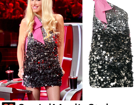 Gwen Stefani's sequin one-shoulder dress from The Voice