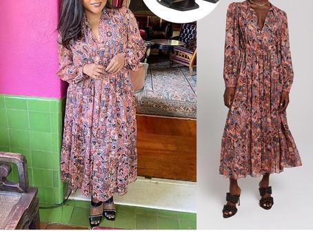 Mindy Kaling's floral print dress and studded black sandals