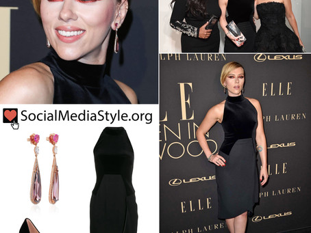 Scarlett Johansson's pink earrings and black dress and pumps from ELLE's Women In Hollywood