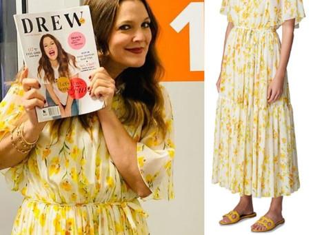 Drew Barrymore's yellow floral print dress