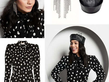 Vanessa Hudgens' daisy leather  hat, crystal earrings, and polka dot hat from Who What Wear