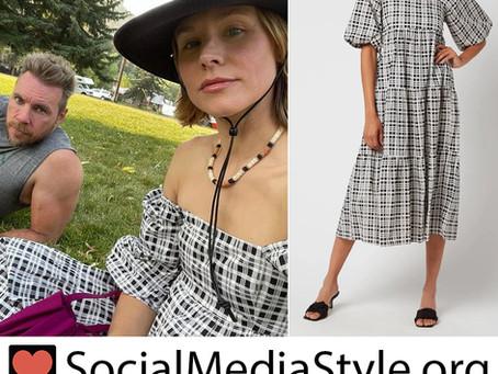 Kristen Bell's black and white plaid dress