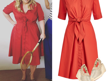 Rebel Wilson's red tie front shirt dress and espadrilles from Wimbledon
