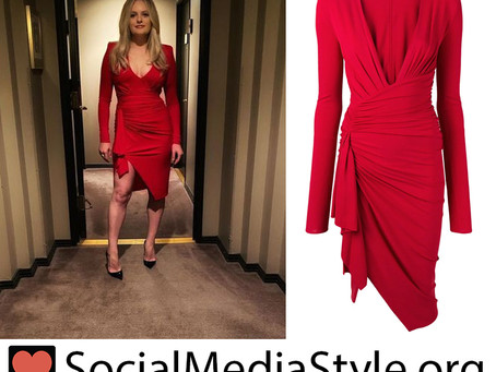 Elisabeth Moss' red ruched dress