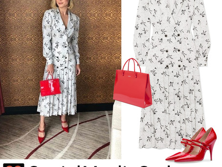 Brie Larson's bow print dress and red bag and pumps