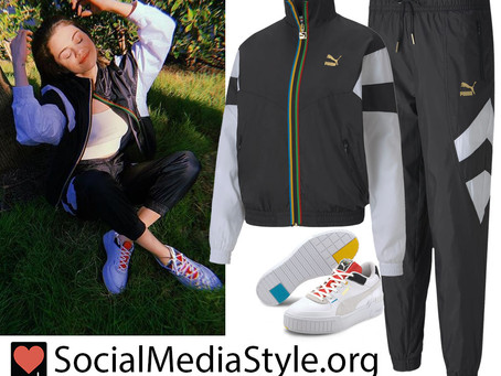 Selena Gomez's Puma rainbow detail black and white tracksuit and sneakers