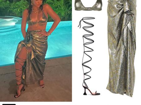 Rihanna's metallic bikini and skirt and black lace up sandals