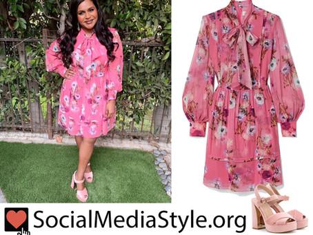 Mindy Kaling's pink floral print dress and platform sandals