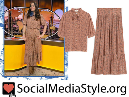 Drew Barrymore's tan floral print top and skirt from The Drew Barrymore Show