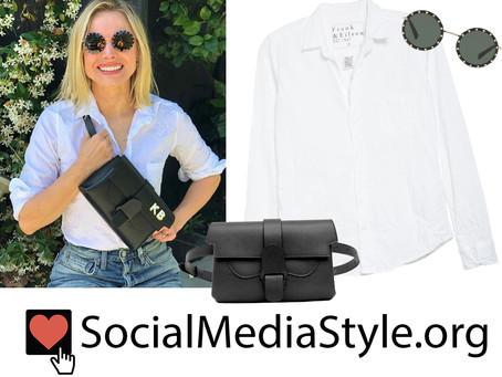 Kristen Bell's crystal studded sunglasses, white shirt, and black belt bag