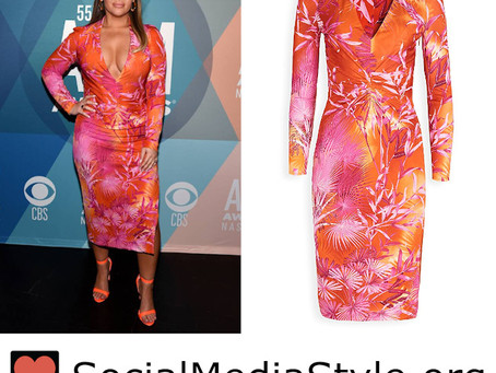 Maren Morris' pink and orange tropical print dress from the 2020 ACM Awards
