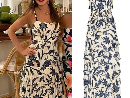 Sofia Vergara's tiered ruffle floral print dress