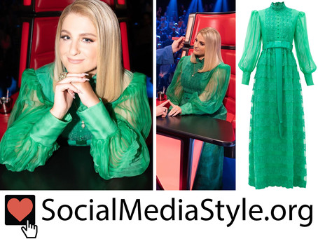 Meghan Trainor's green balloon sleeve dress from The Voice UK