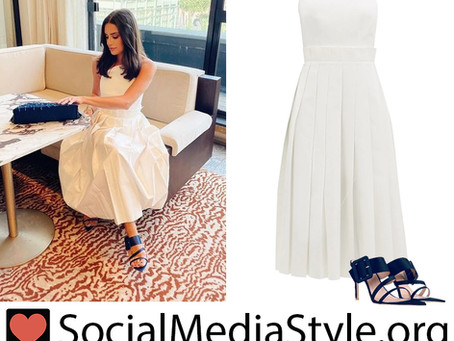 Lea Michele's strapless white dress and navy sandals