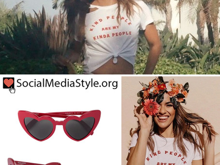 """Halle Berry's red heart sunglasses and """"kind people are my kinda people"""" t-shirt"""