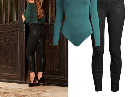 Sofia Jeans by Sofia Vergara green bodysuit and black coated jeans