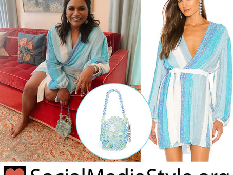 Mindy Kaling's striped sequin wrap dress and beaded evening bag