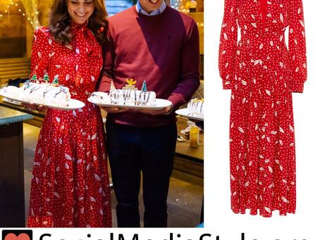 Kate Middleton's red polka dot and petal print dress