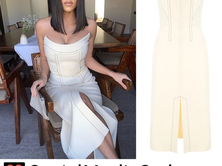 Kourtney Kardashian's strapless cream dress