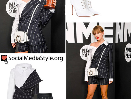Taylor Swift's pinstripe outfit and white bag and boots from the NME Awards