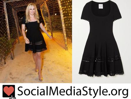 Rebel Wilson's black laser-cut dress