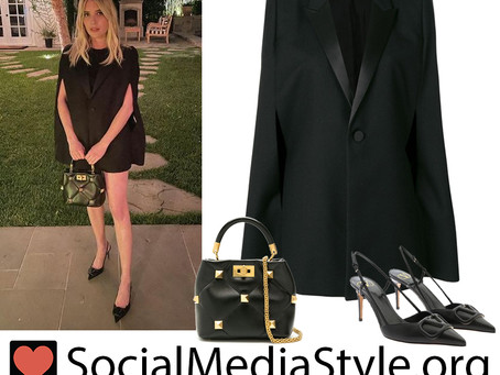 Emma Roberts' black blazer cape dress, studded bag, and slingback pumps