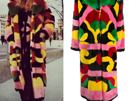 Heidi Klum's multicolor faux fur coat