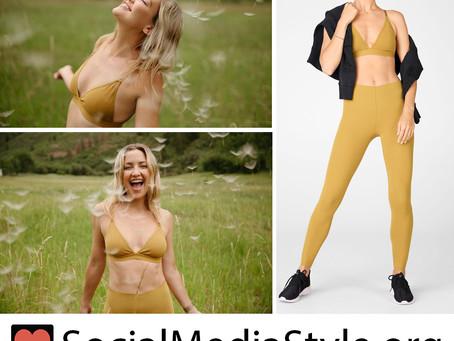 Kate Hudson's Fabletics mustard sports bra and leggings
