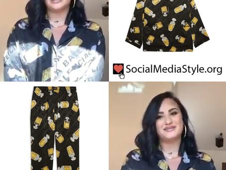 Demi Lovato's Balenciaga perfume print pajamas