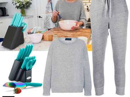 Selena Gomez's grey sweater and sweatpants and turquoise knife set from Selena + Chef