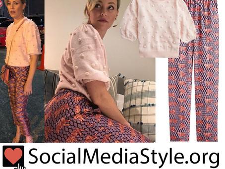 Elizabeth Banks' J.Crew pink pom-pom sweater and tiger print pants