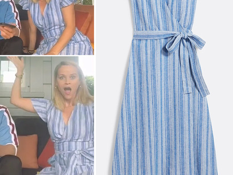 Reese Witherspoon's Draper James striped blue linen wrap dress