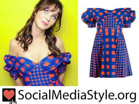 Zooey Deschanel's gingham off-the-shoulder dress