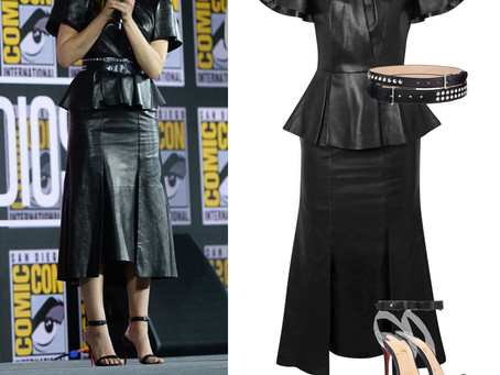 Elizabeth Olsen's black leather peplum dress and accessories from Comic-Con 2019